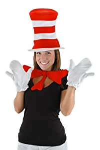 elope Cat In The Hat Adult Accessories Kit, Red/White, One Size