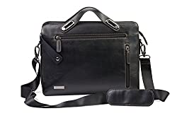 Neopack Urban Messenger Bag / Slim Leather Bag for All 13 inch Laptops / Apple Macbook Pro and Air 13.3 inch (Black)