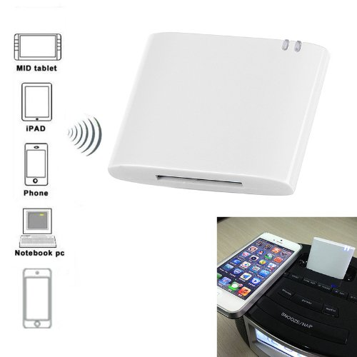 Docooler Wireless Stereo Bluetooth Music Receiver/Adapter For Iphone Ipad Ipod Samsung 30-Pin Dock Speaker Boombox (White)