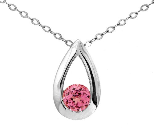 9ct White Gold 0.30ct Created Pink Sapphire Teardrop Pendant + 46cm Chain