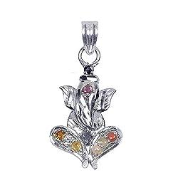 Shiva Rudraksha Ratna Shree Ganesh Navratna Pendant 925 Sterling Silver