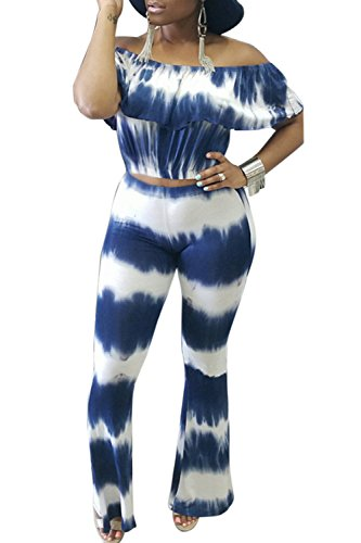 Pretid Women Tie Dye Printed Off Shoulder Top Flared Bottom Pants 2 Piece (Tie Dye One Piece compare prices)