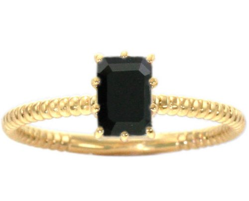 14K Yellow Gold Octagon Gemstone Solitaire Stackable Ring-Black Onyx, size7