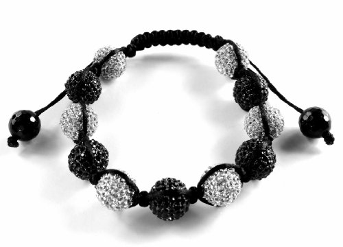 PROMO Black & White 12mm Crystal Hip Hop Style Disco Ball Bead Shamballa Bracelet