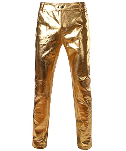 CIC Collection Men's Metallic Shiny Slim Fit Pants