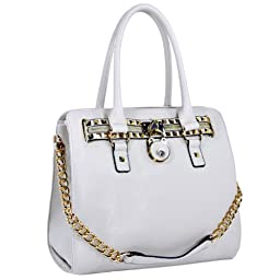 MG Collection Haley Classic Gold Studded Structured Satchel Purse Style Top Handle Bag, White, One Size