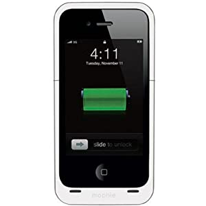 Mophie Juice Pack Air Case and Rechargeable Battery for iPhone 4 (White) Compatibility with both Verizon & AT&T iPhone 4