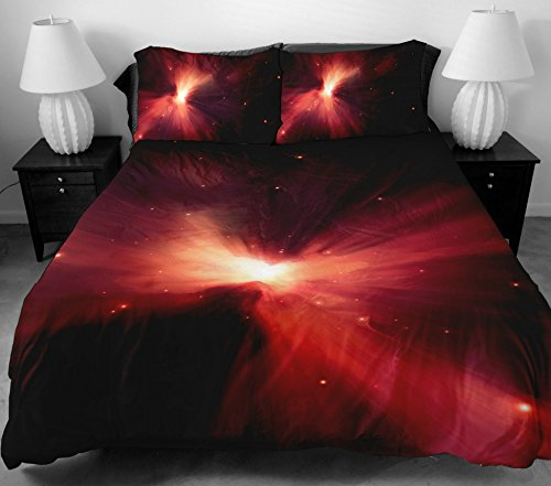 Anlye Home Decorating Design Bedding Set 2 Sides Printing The Pretty Red Light On Space Bed Sheets With 2 Body Pillow Case King front-669358