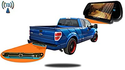 Tadibrothers Pickup Truck Backup Camera System (7 Inch Mirror with Wireless CCD Steel License Plate Frame)