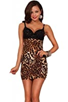 Hot from Hollywood Women's Sequins Padded Underwire Bra Ruched Fit Mini Dress