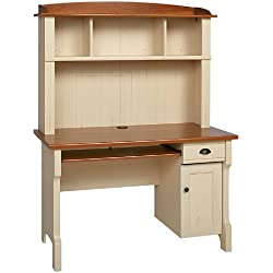 Realspace Shore Mini Solutions Computer Desk with Hutch - Antique White