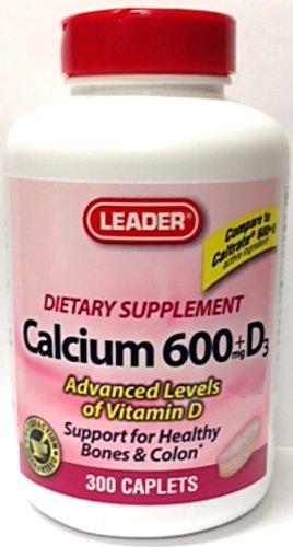 Leader Calcium 600 Mg +D3 Dietary Supplement - 300 Caplets