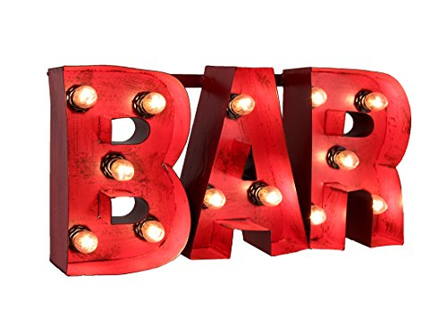 "LL Home Metal ""Bar"" Sign with Lights Wall Decor"