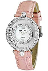 Royal Crown Women's Langii-3628l Pink Leather Analog Wrist Watches Quartz Mother of Pearl Dial