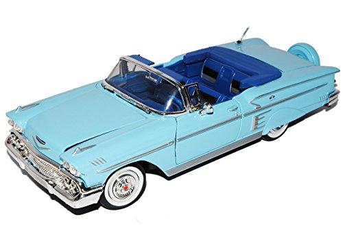 chevrolet-chevy-impala-cabrio-blau-offen-1958-oldtimer-1-24-motormax-modell-auto