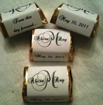 300 MONOGRAM WEDDING CANDY WRAPPERS/Stickers/Labels (Personalized favors for nugget chocolates)
