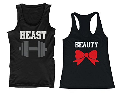 Beauty and Beast His and Her Matching Tank Tops for Couples