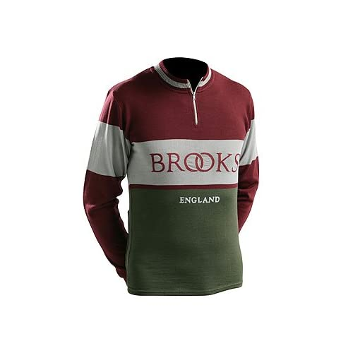 Brooks Vintage Wool Long Sleeve XXL Cycling Jersey Red Green