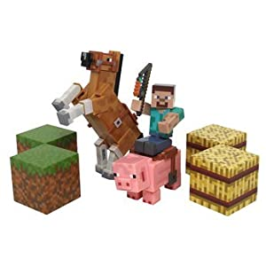 Minecraft Figure Set Overworld Saddle Pack (Steve w/whip Chestnut Horse , Pig w/saddle , 2 x hay bale , 2 x grass blocks) by Mojang