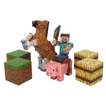 Minecraft Figure Set Overworld Saddle Pack (Steve w/whip Chestnut Horse , Pig w/saddle , 2 x hay bale , 2 x grass blocks) by Mojang