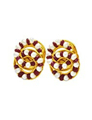 Surat Diamonds Real Red Ruby Beads, Freshwater Pearls & Gold Plated Earrings For Women