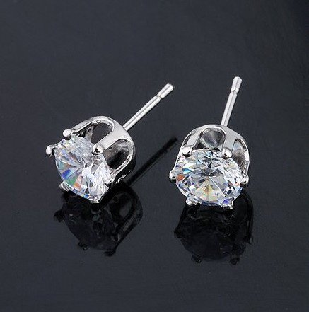 Round 5mm Silver Tone Crystal Stone Stud Earrings Cz Cubic Zirconia