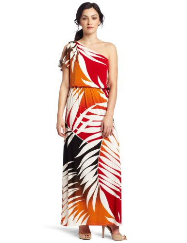 London Times Women's Ombre Palm Printed Matte Jersey One Shoulder Maxi Dress, Soft White/Red, 6