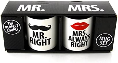 "Our Name Is Mud - Set di 2 tazze ""Mr and Mrs Right Mug"" (il Sig. e la Sig.ra ho-sempre-ragione) [lingua inglese]"