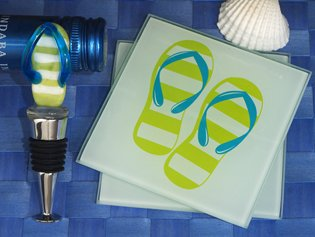 Murano Collection Flip Flop Design Coaster And Bottle Stopper Set, 18