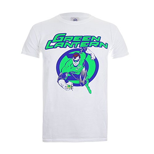 DC Comics Green Lantern Light-Mens Lrg, T-Shirt Uomo, Bianco (White), Large