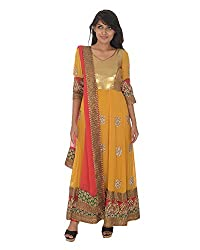 Gurpreet Kaur Women Georgette Dress (D006, Mustard & Red, 36)