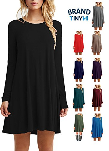 Flowy Plain Sleeve Loose Black Flow Dress Casual Dress Dress(Black,Xlarge)
