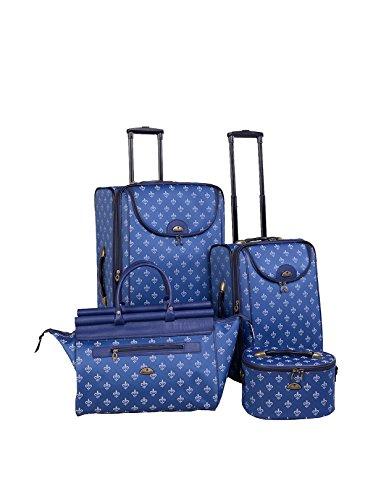 American Flyer 4-Piece Fleur de Lis Luggage Set, Blue