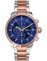 TIMEX E-CLASS MENS CRONOGRAPH WATCH STEEL ROSEGOLD 46MM