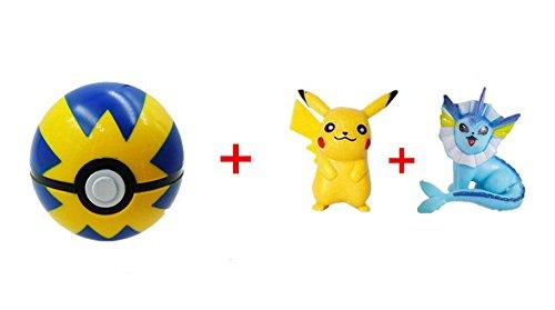 Blue-Yellow Pokeball + 1pcs Free Random Pokemon Figures Anime Action Toys