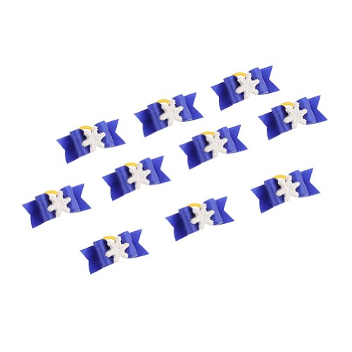 Neewer 10 Pieces Dark Blue Color Dog Cat Pet Grooming Hair Headwear Bowknot Snowflake Decoration Rubber Band front-528033