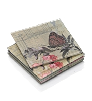 4 Butterflies Glass Coasters