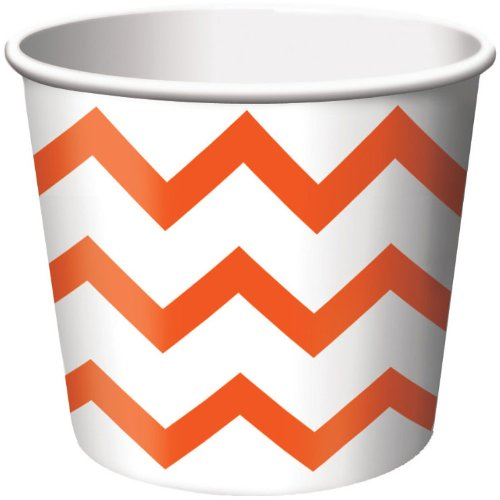 Creative Converting 6 Count Treat Cups, Chevron Sunkissed Orange