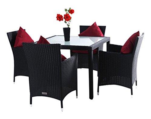 Outflexx Esstisch mit 4 Stühl Polyrattan w1 1×1, schwarz jetzt bestellen
