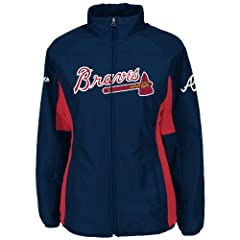Atlanta Braves Navy Ladies Authentic Double Climate On-Field Jacket by Majestic by Majestic