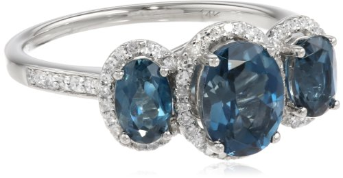 Past Present Future 14k White Gold London Blue Topaz and 1/3 cttw Diamond 3 Stone Ring, Size 8