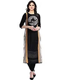 Kiteshop Women's Black Digital Printed Kurtis (Black_KSK1089-8973)