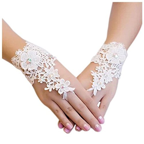 Lace Gloves - TOOGOO(R)Wedding Gown Accessories Fingerless Gloves Inlaid Rhinestone Bridal Lace Gloves