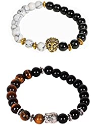 Outdazzle Budha & Lion Face Designer Men Bracelet - Set Of 2