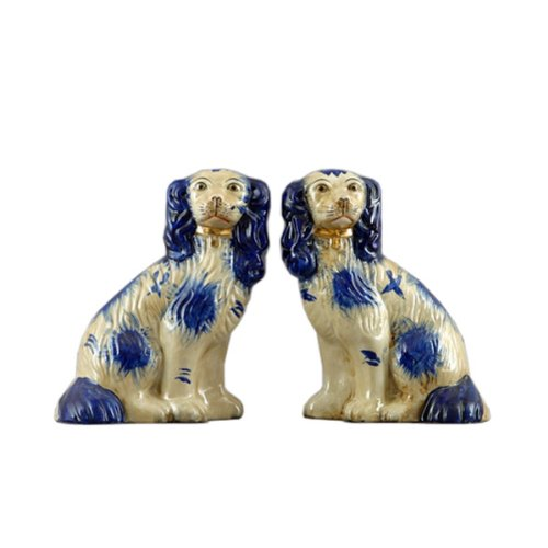 Staffordshire Style Pair of Blue Dog with Chain Statue and Sculpture, 9 in.