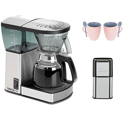 Bonavita 8-Cup Coffee Brewer with Glass Carafe BV1800 + Coffee Grinder + 2-Pieces Ceramic Coffee ...