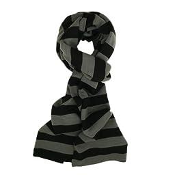 TrendsBlue Soft Knit Striped Scarf - Gray & Black