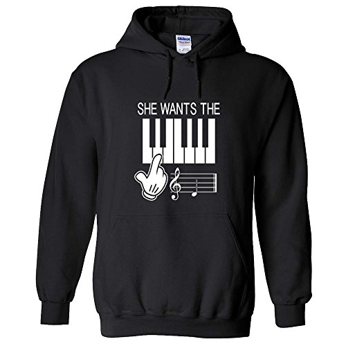 She Wants The D Music Notes Piano Hilarious Treble Clef Staff Lol Funny Hoodie Sweatshirt Black Xl