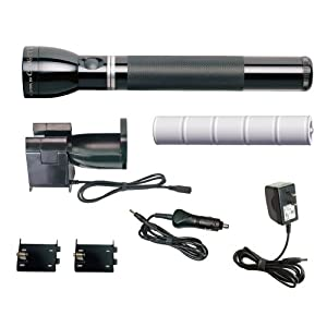 MagLite RE1019 Heavy-Duty Rechargeable Halogen Flashlight System, Black