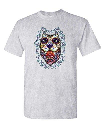 Pit Bull Day Of The Dead - Sugar Skull Tee Shirt T-Shirt, Xl, Ash